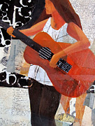 Guitar Player Mixed Media Prints - Counting NOtes 2 Print by Belinda Lima