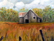 Old Barn Paintings - Country Barn by Anne Barberi