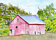 Barn Drawing Drawings - Country Barn by Bill Richards