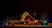 Christmas Holiday Scenery Art - Country Barn Decorated with Christmas Lights by John Bielick