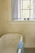 Curtains Posters - Country Bath Poster by Margie Hurwich