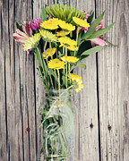 Ball Jar Posters - Country Bouquet Poster by Kim Fearheiley