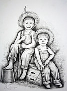 Country Art Drawings Prints - Country Boys Print by Danise Abbott