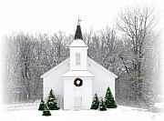Pine Trees Framed Prints - Country Christmas Church Framed Print by Carol Sweetwood