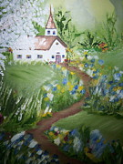 Pathway Paintings - Country Church by Beverlee Busch