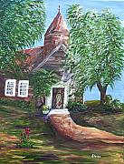 Sermon Painting Prints - Country Church Print by Eloise Schneider