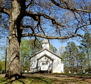 Church On The Hill Prints - Country Church Print by Glenda Barrett