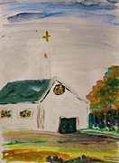 Stained Drawings - Country Church in October by Mary Carol Williams