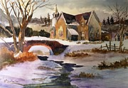 Snowscape Paintings - Country Church in Winter by Larry Hamilton