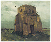 Cemetary Paintings - Country Churchyard and Old Church Tower by Vincent Van Gogh