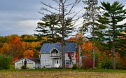 Indiana Scenes Prints - Country Cottage in Autumn Print by Julie Dant