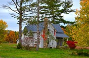 Fall Photographs Posters - Country Cottage Poster by Julie Dant