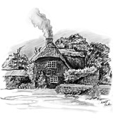 Country Cottage Drawings Prints - Country Cottage Print by Scott Parker