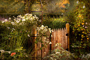 Autumn Scenes Prints - Country - Country autumn garden  Print by Mike Savad