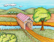 Covered Bridge Mixed Media Prints - Country Covered Bridge Print by Jonathan Meyer