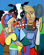 Cows Digital Art - Country Cubism by Anthony Falbo