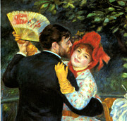 Bougival Prints - Country Dance Detail Print by Pierre Auguste Renoir