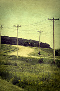 Telephone Lines Framed Prints - Country Dirt Road and Telephone Poles Framed Print by Jill Battaglia