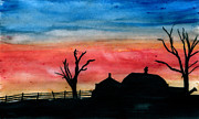 Indiana Scenes Painting Metal Prints - Country Dusk Metal Print by R Kyllo
