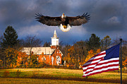 Randall Branham Posters - country Eagle Church Flag Patriotic Poster by Randall Branham