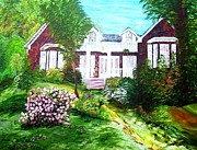 Garden Scene Mixed Media Metal Prints - Country Estate Metal Print by Eloise Schneider