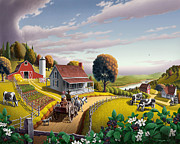 England Art - Country farm folk art Appalachian Blackberry Patch rustic rural americana American scene landscape by Walt Curlee