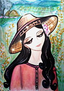 Thai Drawings - Country Farmer Maiden by Tarinee Kulchol
