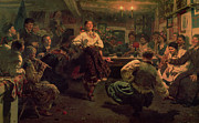 Folk  Paintings - Country Festival by Ilya Efimovich Repin