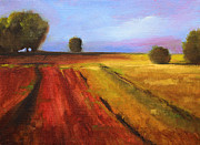 Wyoming Paintings - Country Fields Landscape by Nancy Merkle