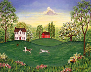 Barn Prints - Country Frolic Two Print by Linda Mears