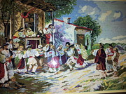 Dance Tapestries - Textiles Originals - Country Game by Printz Viorica