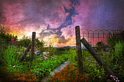 Fences Prints - Country Garden Print by Debra and Dave Vanderlaan