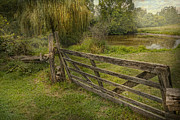Willow Lake Prints - Country - Gate - Rural simplicity  Print by Mike Savad