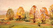 Mid West Landscape Art Posters - Country Hideout in the Fall Poster by Art By Tolpo Collection