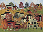 Folk Art Paintings - Country Hills by Medana Gabbard