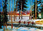 Winter Scenes Rural Scenes Prints - Country Hockey Rink Print by Carole Spandau