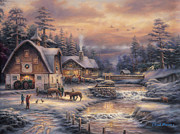 Kinkade Painting Prints - Country Holidays 2 Print by Chuck Pinson