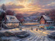 Children Painting Originals - Country Holidays by Chuck Pinson