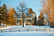 Country Digital Art Metal Prints - Country Home impasto Metal Print by Steve Harrington