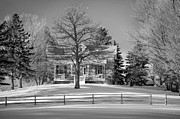 1800 Framed Prints - Country Home monochrome Framed Print by Steve Harrington