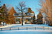 Country Living Photos - Country Home watercolor by Steve Harrington