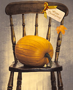 Orange Pumpkins Framed Prints - Country House Chair Framed Print by Christopher and Amanda Elwell