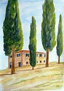 Villa Paintings - Country house in Tuscany by Christine Huwer
