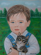 Cute Kitten Pastels Posters - Country Kitten Poster by Cheryl McNulty