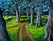 Live Oak Trees Paintings - Country lane in Florida by Joan Mace