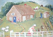 Arkansas Mixed Media Prints - Country Life At The Cottage Print by Barbara LeMaster
