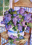 Ladderback Chair Paintings - Country Lilacs by Sherri Crabtree