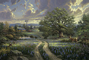 Blue Bonnets Prints - Country Living Print by Thomas Kinkade