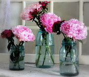 Mason Jars Posters - Country Peonies Poster by Michele Hancock Photography