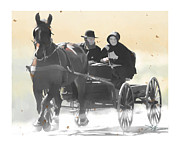 Mennonite Posters - Country Ride Poster by Bob Salo